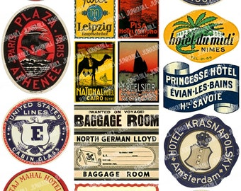 STEAMTRUNK II - Digital Printable Collage Sheet - Vintage Travel Labels from Steamboats, Hotels & Europe Landmarks, Instant Download