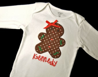 Personalized Gingerbread Girl (or Boy)  Baby Bodysuit with Bow