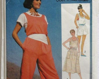 A Vintage Sewing Pattern for an Overdress (Jumper), Jumpsuit, Romper and Tube Top in Sizes 6, 8, 10 (Simplicity 6891, Ali McGraw) (203)