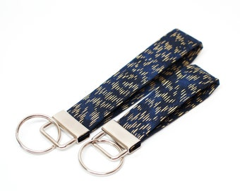 Gold and Navy Key Chain / Key Fob / Wristlet - Choose Your lenght