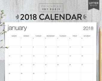 2018 Calendar, Minimalist Printable Calendar, 2018 Wall Calendar, Printable Calendar 2018, Instant Download PDF