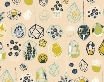 Organic fabric, Hanging Terranium Shell, Birch organic fabric, baby fabric, garden fabric, boho baby fabric, boho girl fabric, Hidden Garden