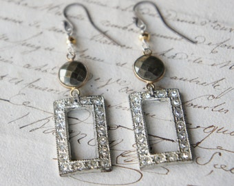 Antique Assemblage Earrings with Vintage Rhinestone Drops and Pyrite Links