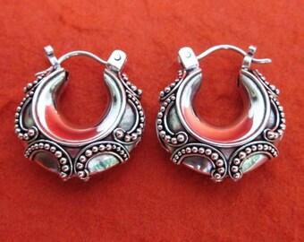 Beautiful granulation silver technique 0.75 inch Silver hoop earrings /  silver 925 / Bali handmade jewelry / (#151K)