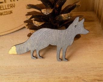 Wooden fox brooch pin