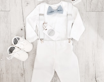 Baby boy Baptism outfit with white bodysuit, suspenders and bow tie in natural linen or grey/white/blue cotton and matching pants or shorts