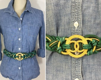 90s Green and Gold Woven Rope Belt, Size XL to 1X