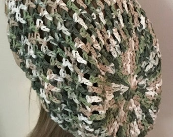 Cotton Open Stitch Slouchy Beanie in Sage and Tan