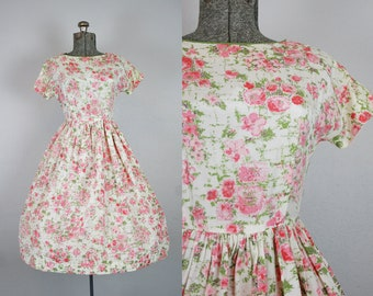 1950's Pink Rose Print Silk Party Dress / Size XSmall