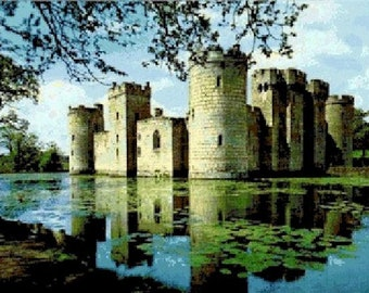 Bodiam Castle Counted Cross Stitch Pattern - Digital Download
