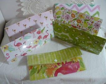 Women's Wallet, Wallet Divider, Envelope Wallet,  Slim Wallet, Gift Set, Minimalist, Travel Wallet, Snap Closure, 7 Inch, Hand Stitched