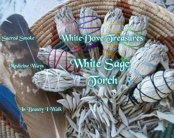 """Bâtonnet de sauge blanche ~ torche Bundle 4.5"""" Gift Wrap au choix de couleur des Instructions en vrac 1-24 ~ bénédiction de la maison ~ Bio Herb ~ Aura claire"""