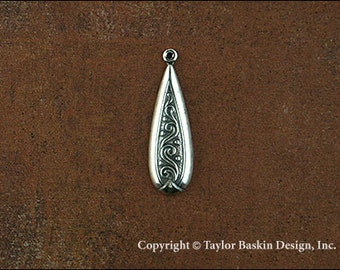 Antiqued Sterling Silver Plated Earring or Pendant Jewelry Drop (item 2825 AS) - 12 Pieces
