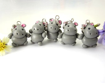 Cute Hippo Stitch Markers (Set of 5) knit knitting stitch markers polymer clay charms hippopotamus