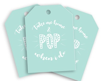 """Mint Baby Shower Gender Reveal Party Swing Tags. """"Take me home & POP when I do"""" gift tags! 350gsm silk single sided swing party gift tags!"""