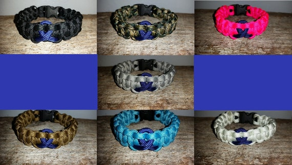 Colon Cancer Awareness 550 paracord survival bracelet dark blue ribbon