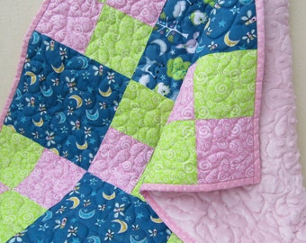 Patchwork baby blanket, stroller blanket, baby quilt, minky blanket