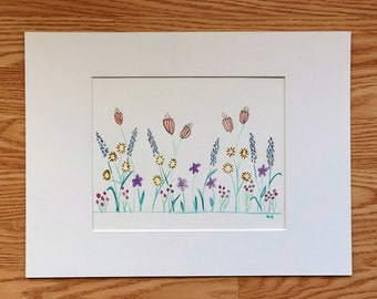 Wildflowers Floral watercolors Black and white original doodle Springtime Mother's Day Spencer Doodles