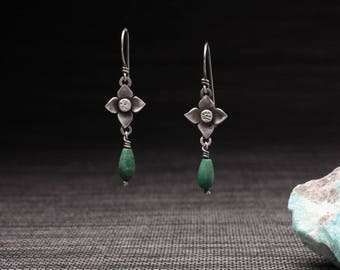 Flower Drop Earrings with Turquoise