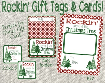 Rockin' Around The Christmas Tree Christmas Gift Tags and Cards. Perfect for iTunes Giftcard! Instant Digital Download