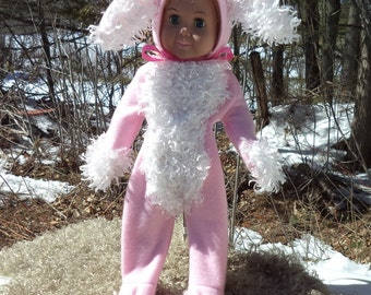 "18"" pink Easter bunny doll costume, pink fleece doll bunny costume, white curly fur bunny costume, 2 piece bunny costume, white fuzzy tail"