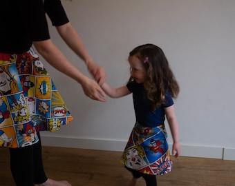 100% Cotton Comic Strip Print Girl's Skirt