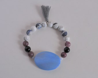 Worry Bracelet, Worry Stone, Worry Stone Bracelet, Anxiety Bracelet, Panic Attack Bracelet, Stretch Bracelet, Gemstone Bracelet