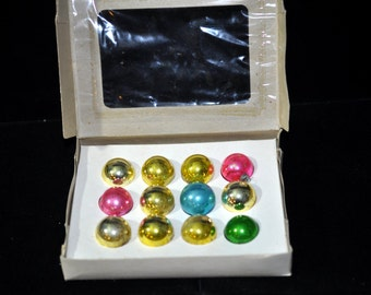 Feather Tree, 12 Small Ornaments, Box of ornaments, assortment of Colors Nice to add to a collection, #26b