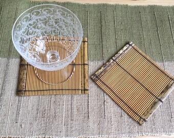 Handmade Bamboo Tea Coaster, Set of Two