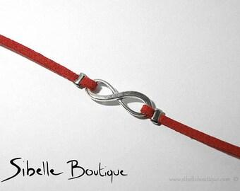 Infinity bracelet red Suede - (B21-7)