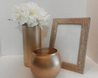 Wedding centerpiece , 5x7 Gold picture frame, Wedding table set gold or silver, Wedding shop, Gold Flower vase and candle holder