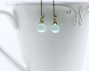 Chalcedony earrings light blue dangle earrings birthday jewelry march birthday jewelry