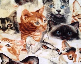 Cat Beautiful Cats Quilt Craft Cotton Fabric