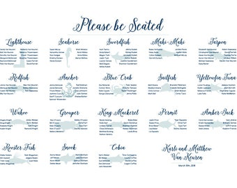 Fish and Sealife Wedding Seating Chart Digital Design Printable PDF Custom Personal Poster Print File ONLY custom colors and fonts