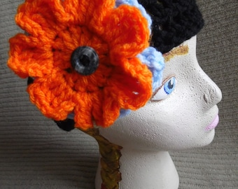 Black Headband with 2 Interchangeable Flowers, Light Blue, Bright Orange