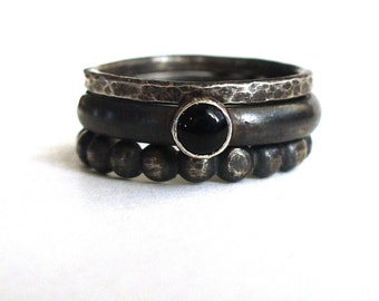 Risa Rings - Black Onyx and Sterling Silver Stack Rings