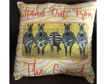 Stand Out From the Crowd Zebra Throw Pillow