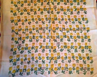 Yellow Roses Polks Dots Carnations Silk Hand Rolled Scarf