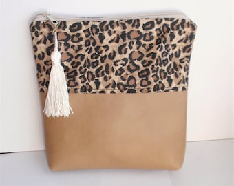 "Fold Over Bag ,Purse or Cosmetic /Makeup Bag. 10"" X 10 "" X 2"". Lined, Tassel.Animal Designer Print,Faux Leather, Zippered Bag. Handmade Gift"