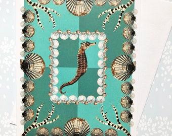 Greeting Card Seahorse and Shells