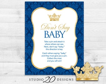 Instant Download Royal Blue Prince Don't Say Baby Sign, 8x10 Blue Gold Glitter Shower Icebreaker Pin Game, Shower Don't Say Baby Game 66C