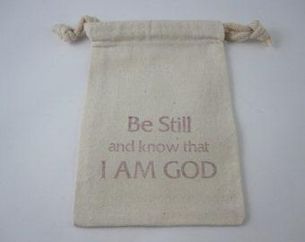 Be Still - Prayer Bead Drawstring Pouch