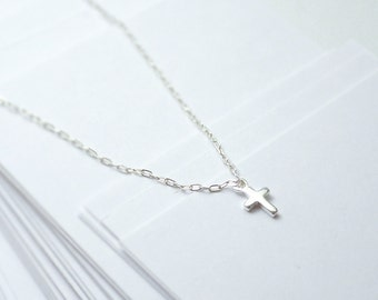 Silver cross necklace - small cross necklace - sterling silver - dainty delicate