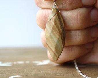 Wood Jasper Necklace Pendant . Large Stone Pendant Necklace . Woodgrain Necklace . Tree Hugger Gift . Gift for Nature Lover
