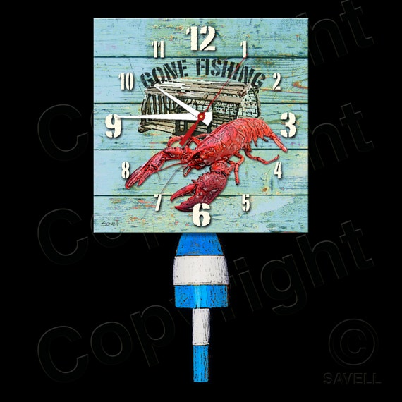 Gone Fishing Clock with Lobster Buoy Pendulum • Lobster Clock