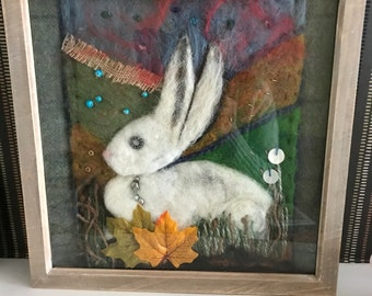 Needle felted & embroidered rabbit..