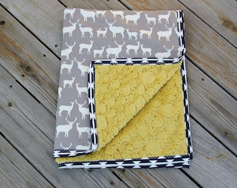 Organic Woodland Blanket, Deer Baby Blanket, Grey, Navy and Gold Baby Blanket, Ready to SHIP, Minky Baby Blanket, Baby Shower Gift