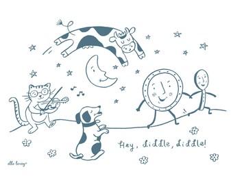 Hey Diddle Diddle - 5x7, 8x10, 11x14 Nursery Rhyme Art Print