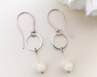 MARBLE EARRINGS light yellow circle earrings silver sterling Fashion Jewelry filigree earrings marble beads elegant dangle genuine marble
