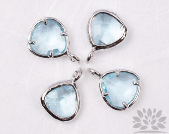 F100-00-S-IB// Silver Framed Ice Blue Faceted Mini Glass Stone Pendant, 2Pc